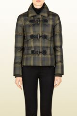 Gucci Check Print Nylon Feather Jacket - Lyst