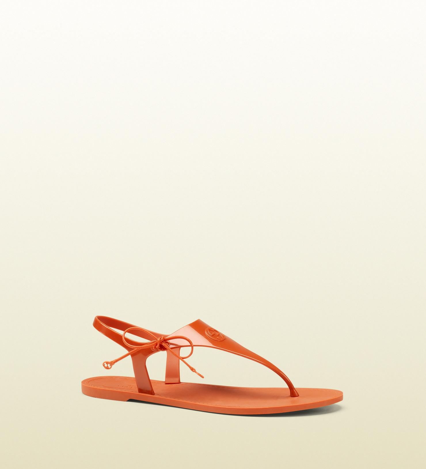 66359ec6b6f9 Lyst - Gucci Katina Bioplastic Rubber Thong Sandal in Orange