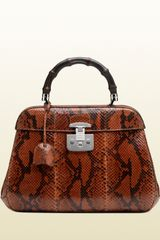 Gucci Lady Lock Python Top Handle Bag - Lyst