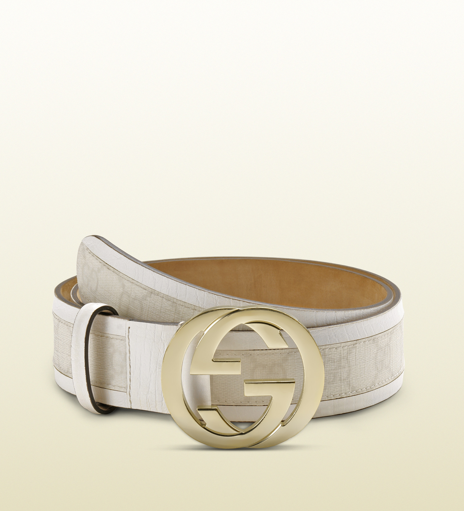 e7327b61276 Lyst - Gucci Gg Plus Belt With Interlocking G Buckle in White