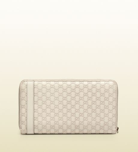2aa9bb4a2d9a Gucci Nice Micro Guccissima Leather Zip Around Wallet in White for Men |  Lyst