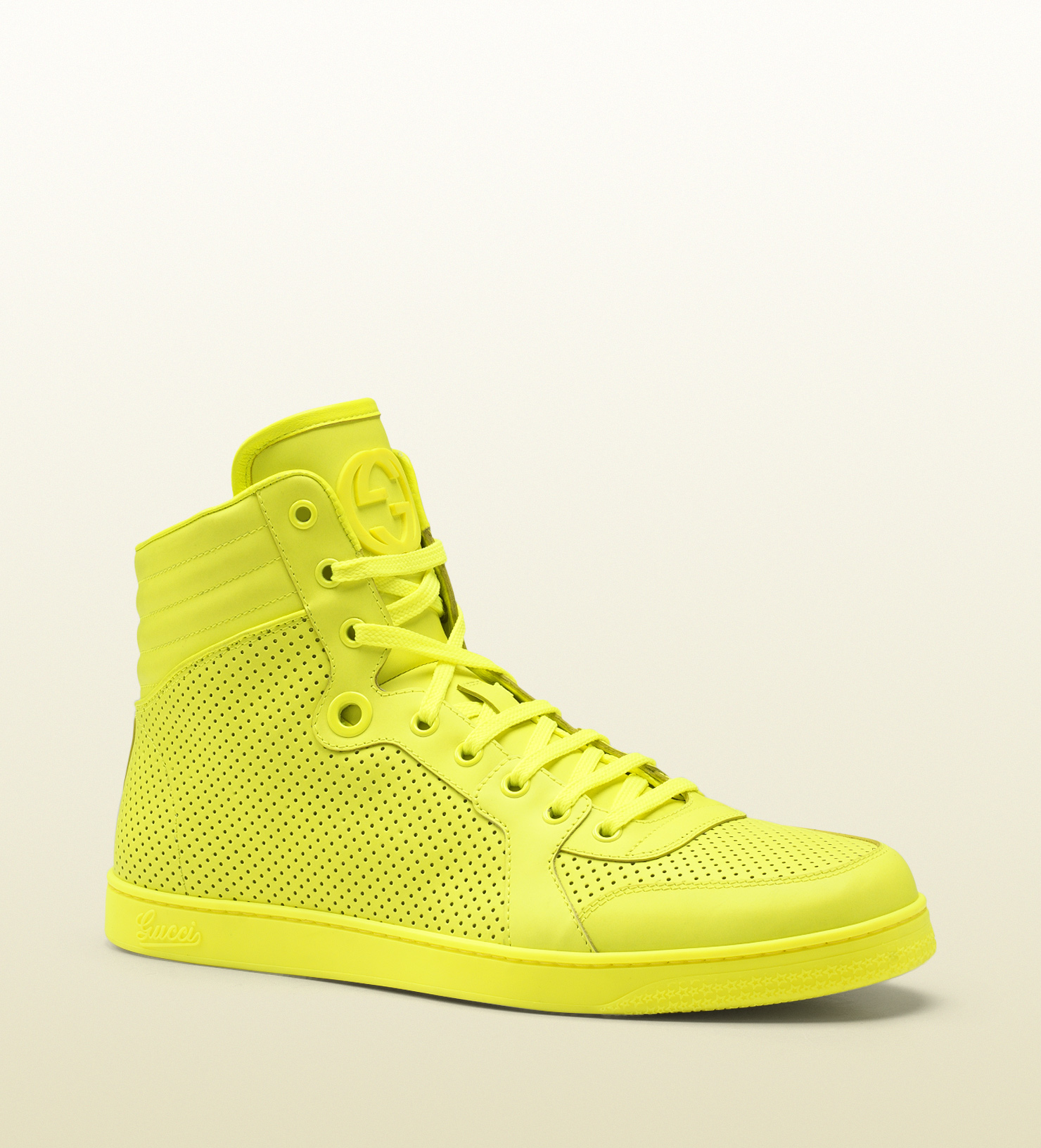1142272dc3e Gucci Neon Leather High-Tops ( 698) ❤ liked on Polyvore featuring shoes