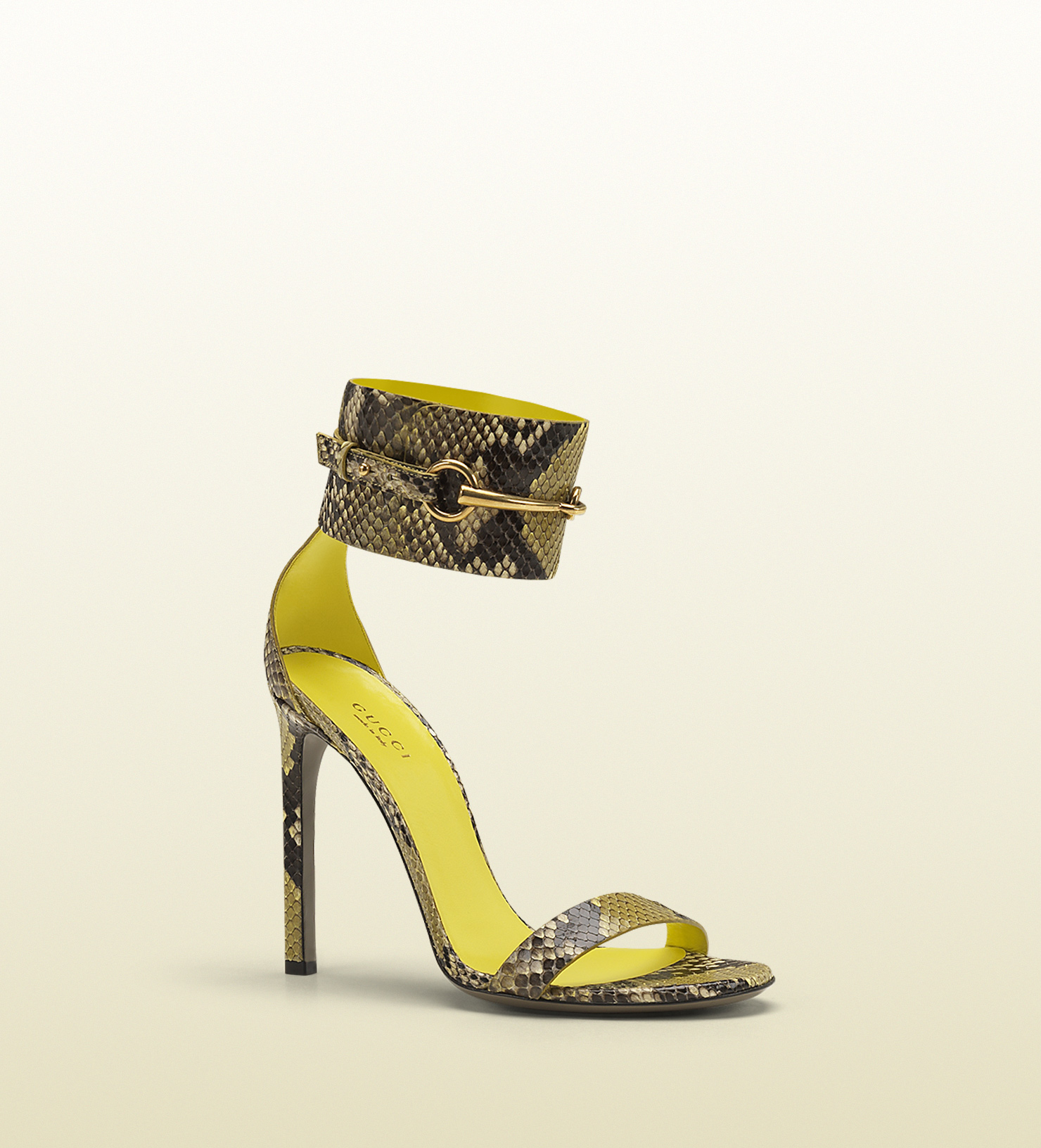 9f7c80d68306 Lyst - Gucci Ursula Anklestrap High Heel Sandal in Yellow
