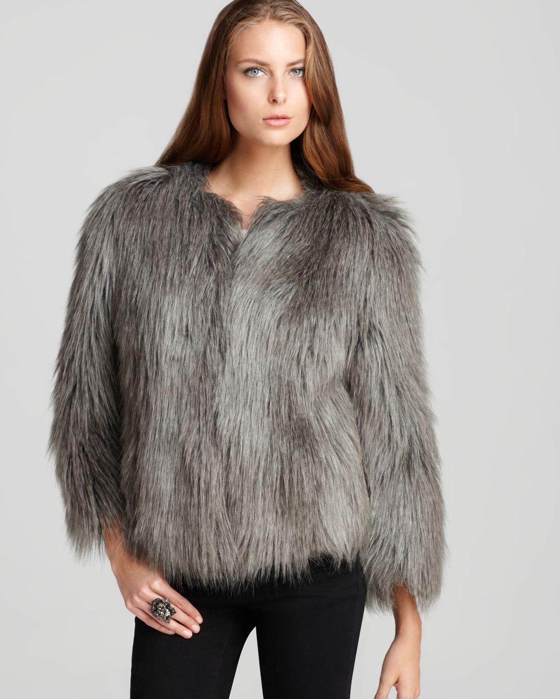 Lyst - Guess Felicia Faux Fur Jacket in Gray