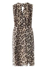 L'Agence Leopard Print Sleeveless Satin Dress - Lyst
