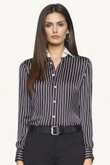Ralph Lauren Black Label Pinstriped Caitlin Shirt - Lyst