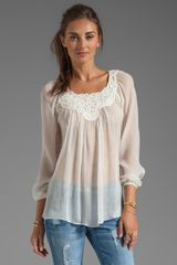 Rebecca Taylor Embroidered Blouse in White - Lyst