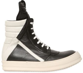 Rick Owens Two Tone Leather High Top Sneakers - Lyst