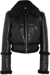 Burberry Cropped Shearling Biker Jacket - Lyst