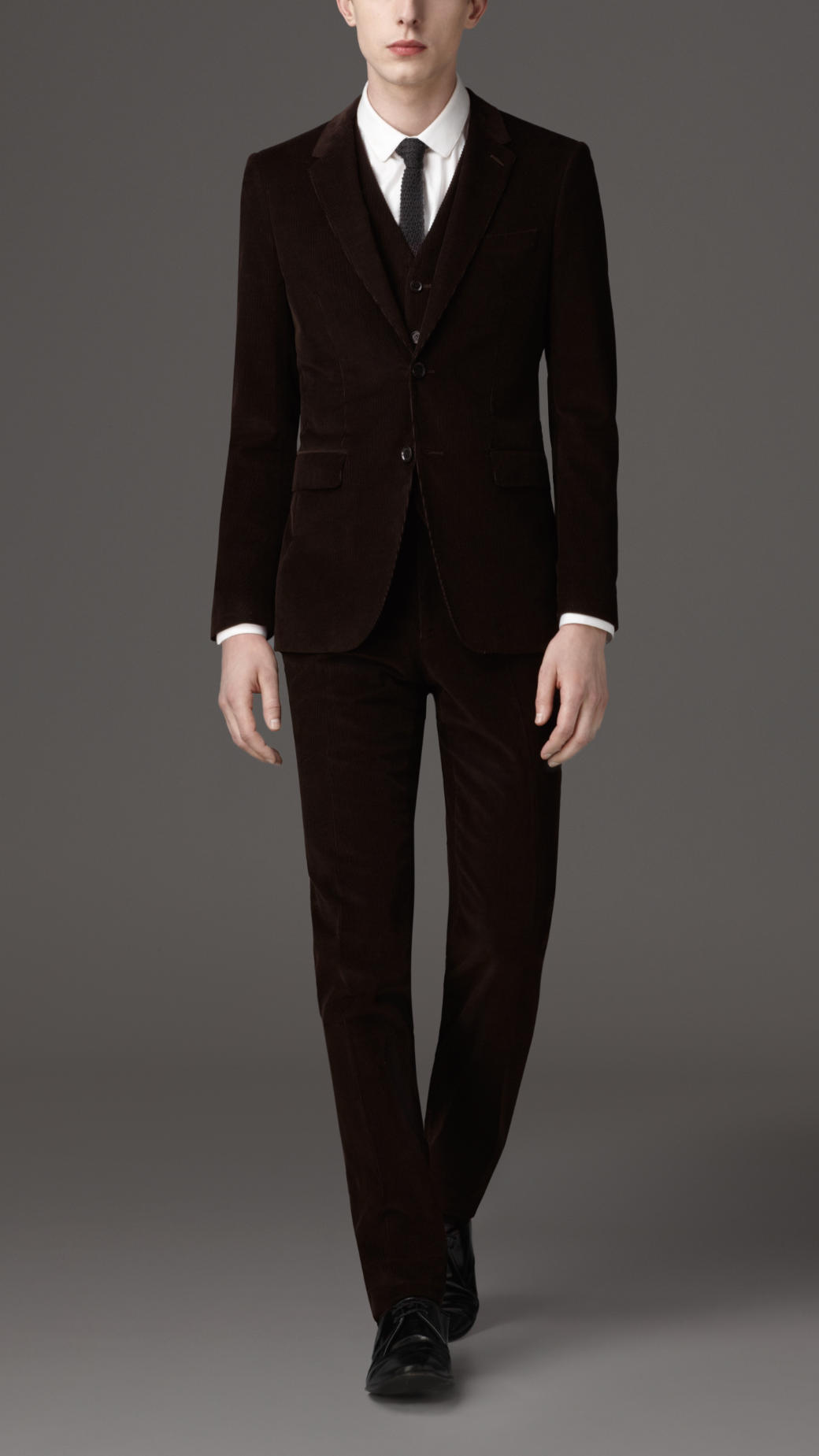 Burberry Slim Fit Corduroy Suit in Black for Men | Lyst