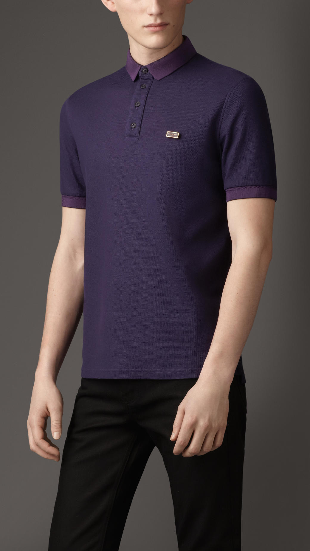 Burberry doubleweave piqu cotton polo shirt in blue for for Royal purple mens dress shirts