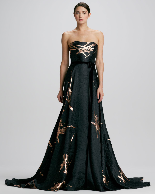 Carolina herrera Strapless Twig-jacquard Ball Gown in Black   Lyst
