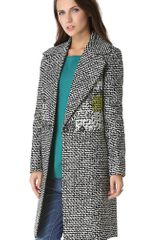 Diane Von Furstenberg Nala Coat in Gray (black) - Lyst