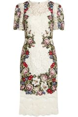 Dolce & Gabbana Tapestry and Lace Dress - Lyst
