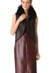 J. Mendel Strip Leather Vest with Fur Collar - Lyst