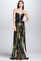 J. Mendel Abstractprint Pleated Silk Maxi Skirt - Lyst
