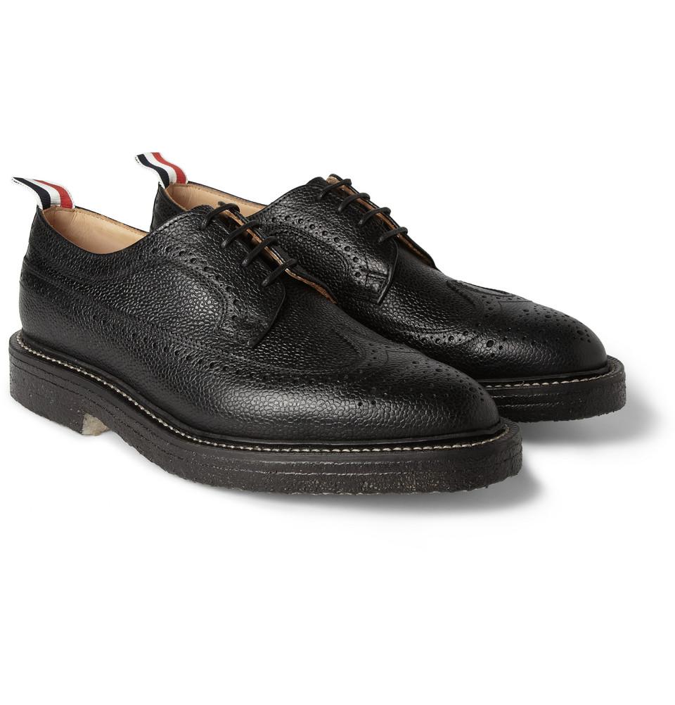 Thom Browne Black Pebbled Wingtip Shoe
