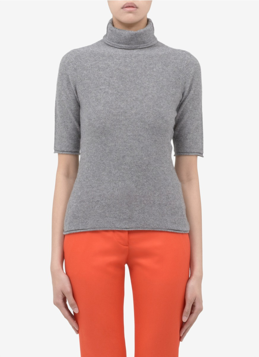 Armani Cashmere Short-sleeve Turtleneck in Gray | Lyst