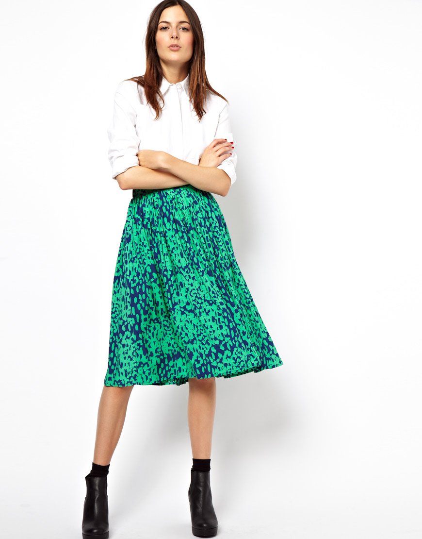Asos Midi Skirt in Animal Print in Green | Lyst