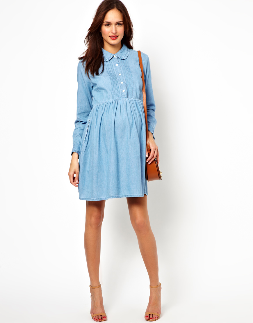 Asos maternity exclusive denim smock shirt dress in blue lyst gallery ombrellifo Image collections