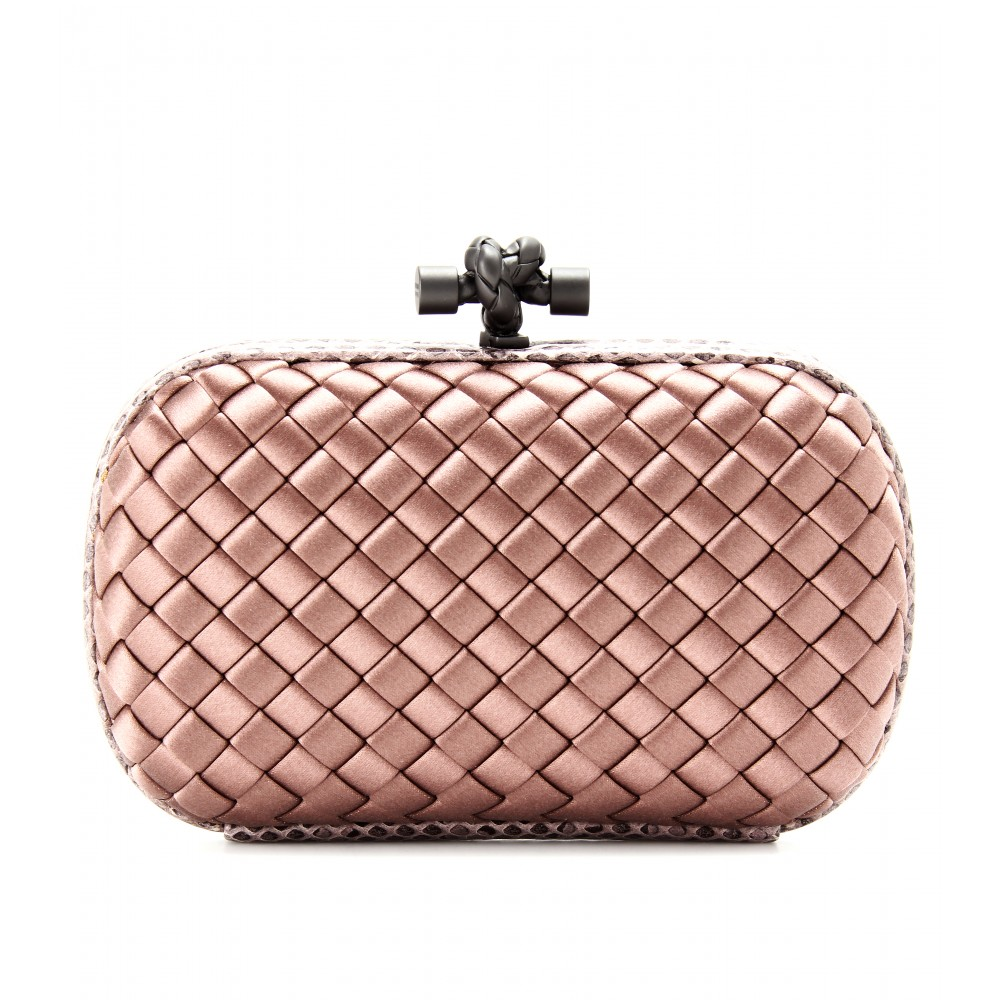46e572730e0 Lyst - Bottega Veneta Knot Satin Box Clutch with Snakeskin in Pink