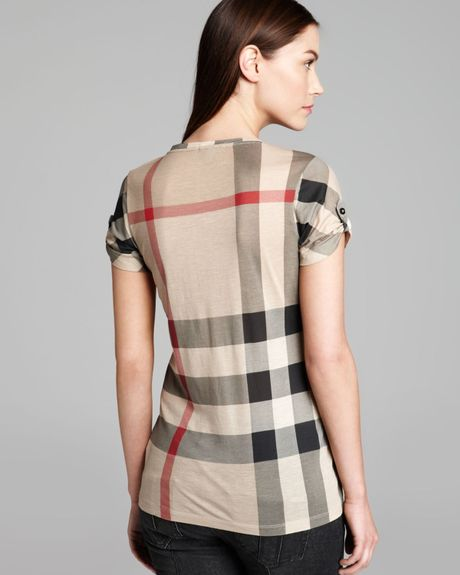 Burberry Brit Short Sleeve Check Tee In Beige (New Classic