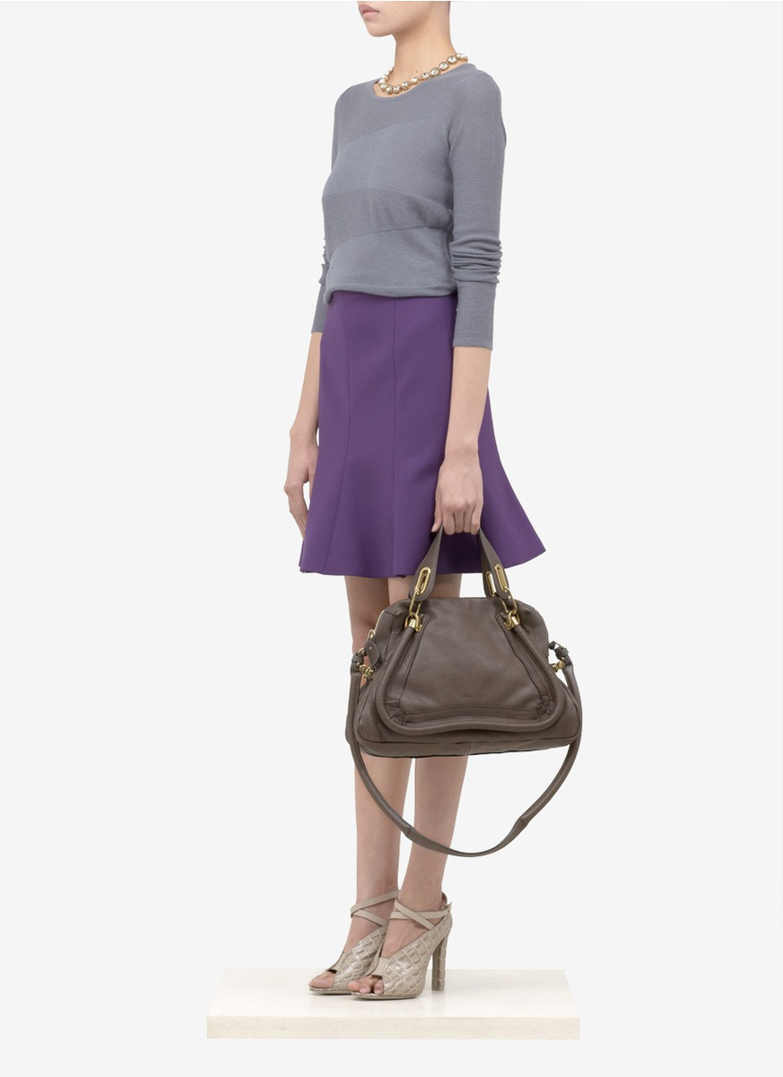 handbag chloe online - Chlo�� \u0026#39;paraty\u0026#39; Medium Leather Bag in Gray (Grey) | Lyst