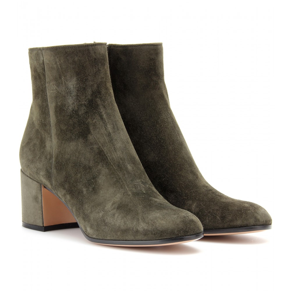 gianvito rossi suede ankle boots in gray lyst. Black Bedroom Furniture Sets. Home Design Ideas