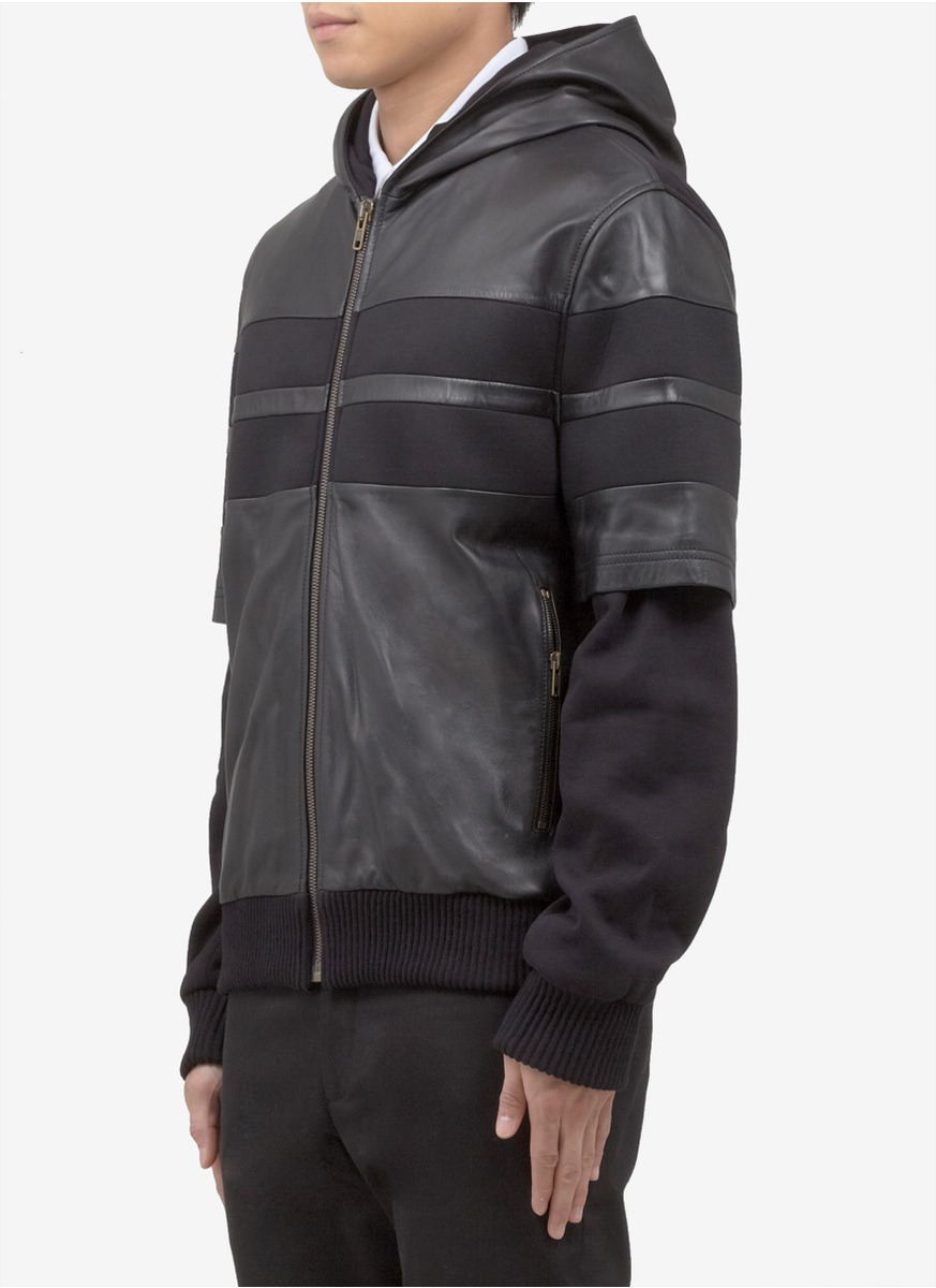 Lyst - Givenchy Leather Hoodie Jacket in Black for Men