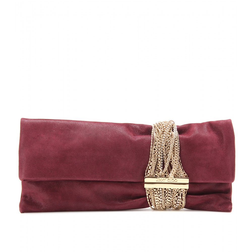 jimmy choo chandra suede clutch in purple claret lyst. Black Bedroom Furniture Sets. Home Design Ideas