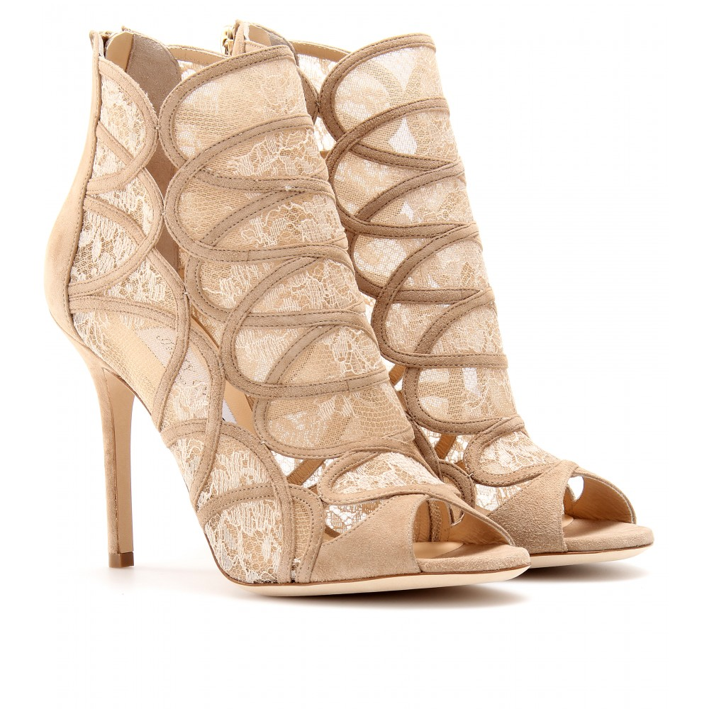 01601548434 Lyst - Jimmy Choo Fauna Suede Peeptoe Ankle Boots with Lace in Natural