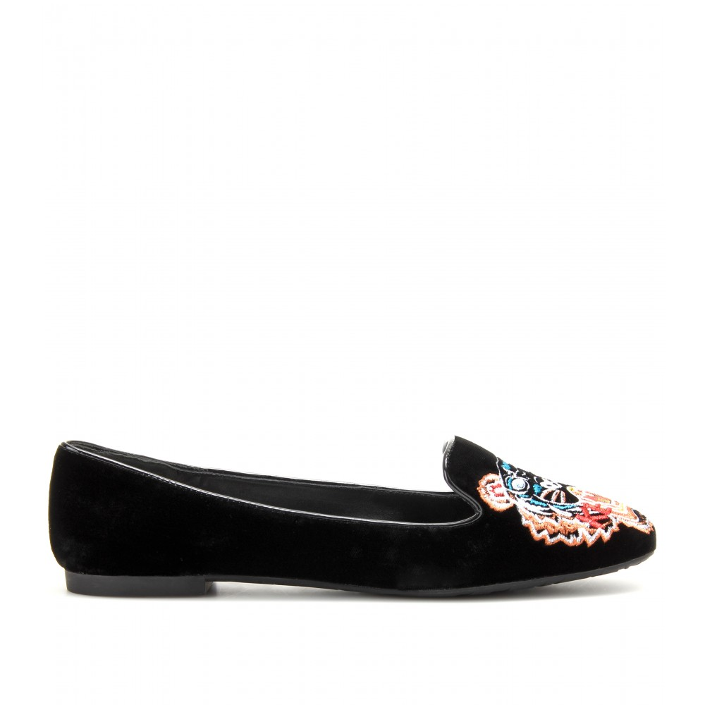 264936007 KENZO Embroidered Slipperstyle Loafers in Black - Lyst