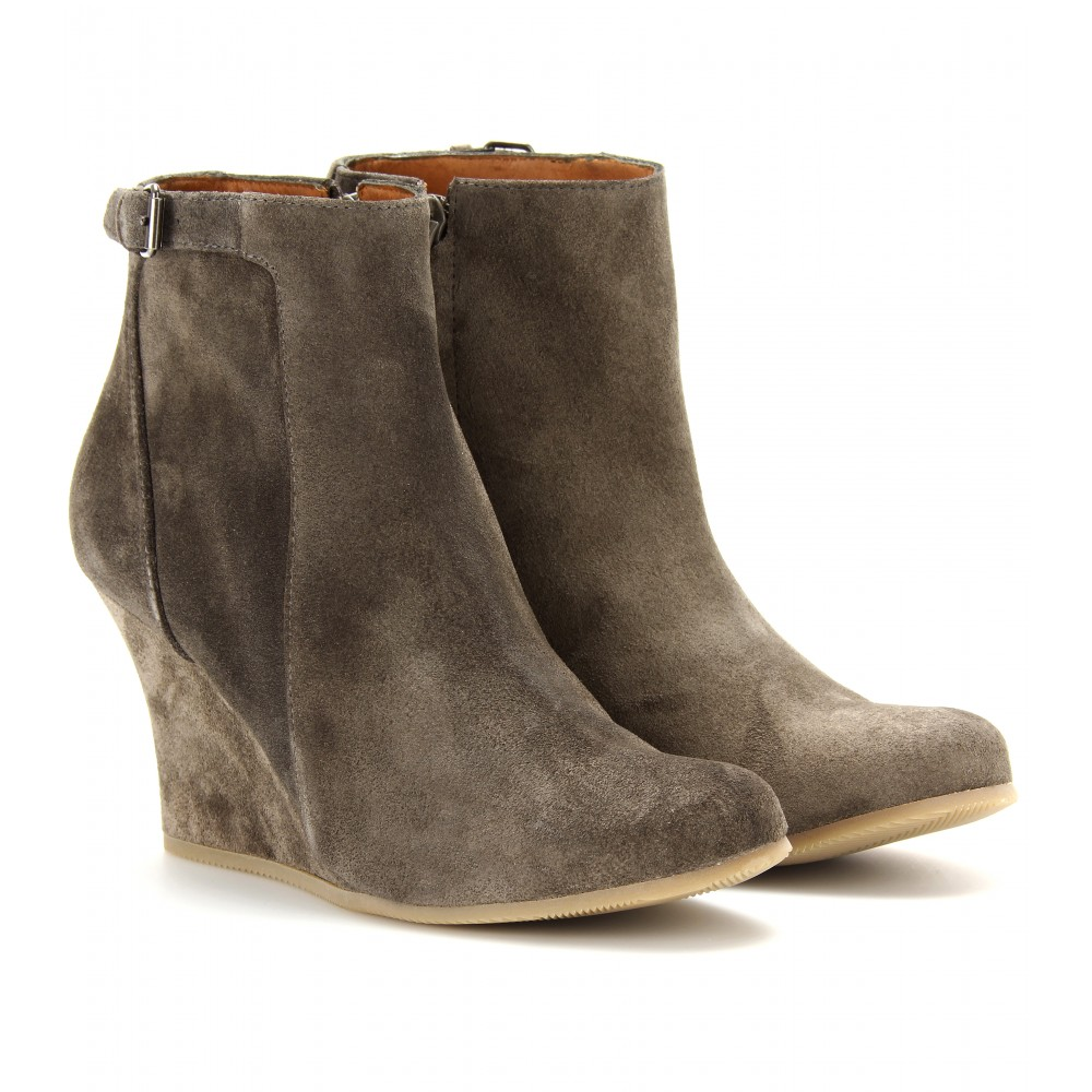 lanvin suede wedge ankle boots in khaki grey lyst