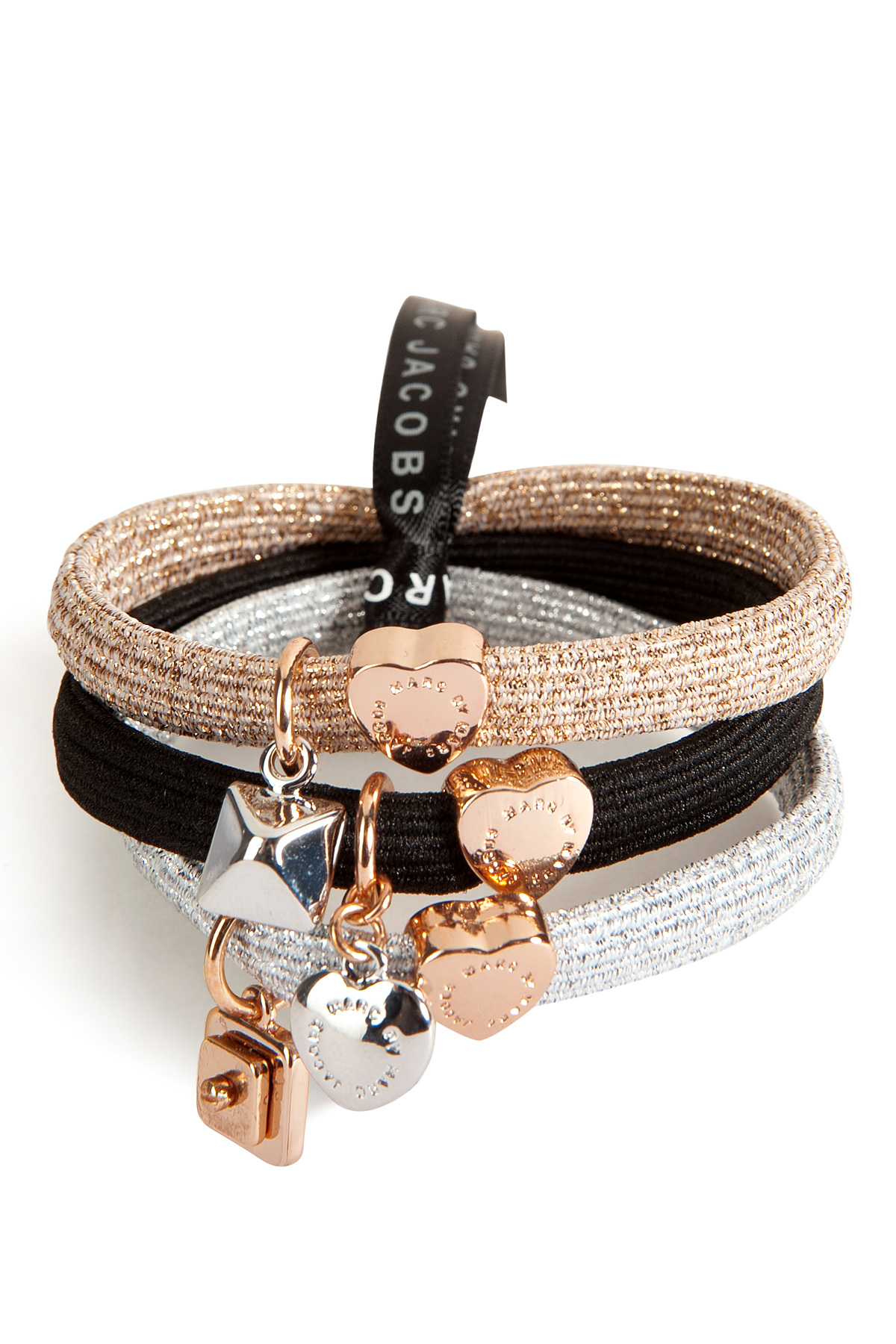 Marc By Marc Jacobs New Plaque Hair Tie Cluster In Rose