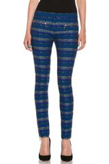 Matthew Williamson Zig Zag Stretch Tailoring Pant in Blue-stripes - Lyst