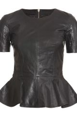McQ by Alexander McQueen Leather Top with Peplum - Lyst