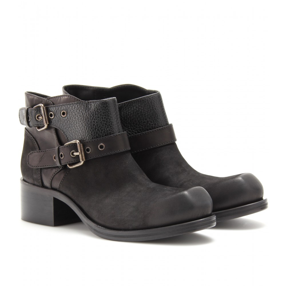 Mcq Military Leather Ankle Boots in Black | Lyst