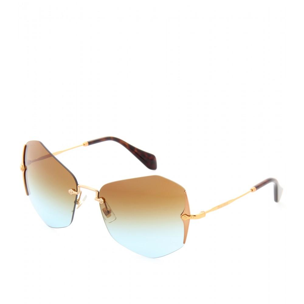 Miu Miu Hexagonal Sunglasses  miu miu hexagonal sunglasses in brown lyst