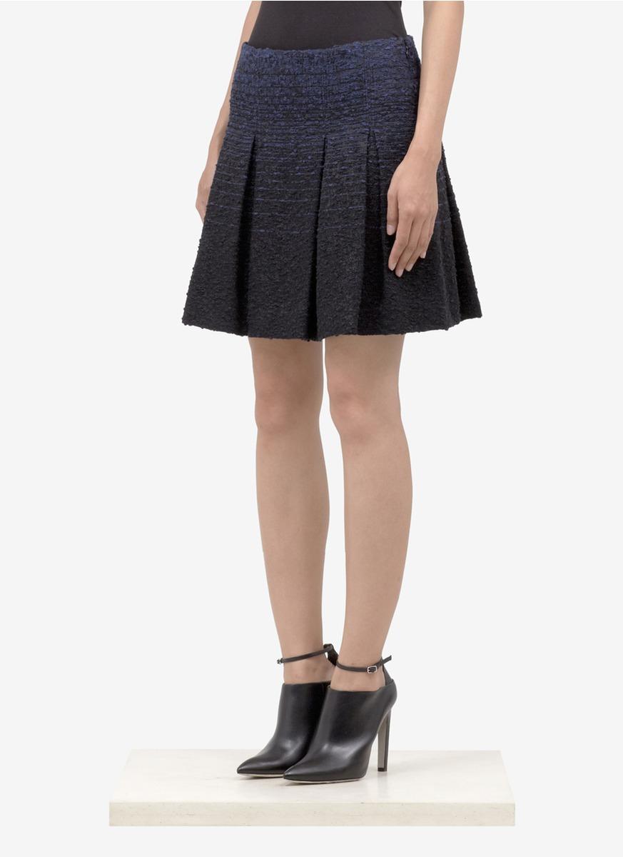 proenza schouler tweed pleated skirt in blue lyst
