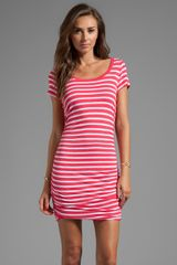 Splendid Short Sleeve Stripe Dress in Pink - Lyst