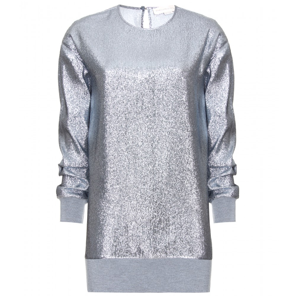 Outlet With Paypal Order Stella McCartney Metallic Long Sleeve Top 100% Original Cheap Authentic Outlet Cheap Low Price New Sale Online pyHpHowjJ8