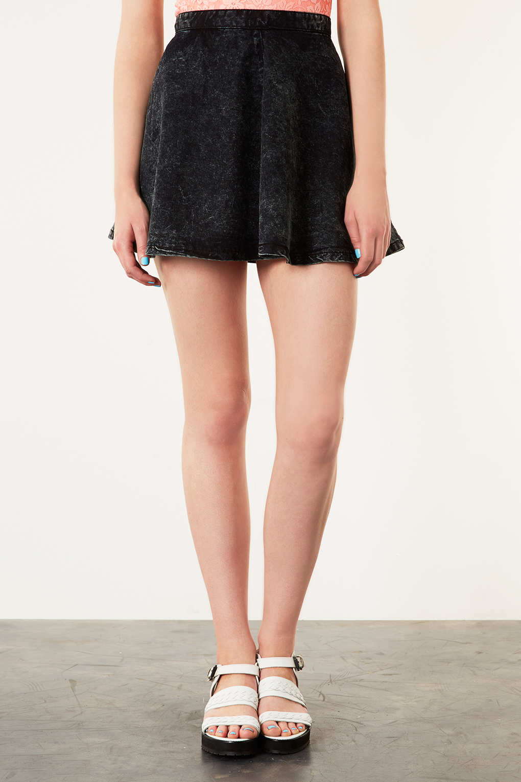 topshop moto black acid denim skirt in black lyst