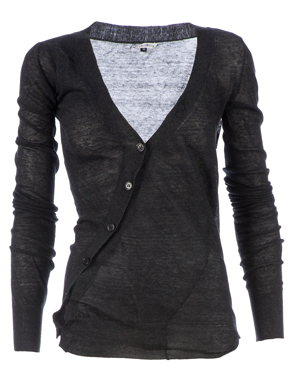 Ann demeulemeester blanche Asymmetric Sheer Cardigan in Black | Lyst