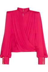 Balmain Silk satin Wrap Top - Lyst