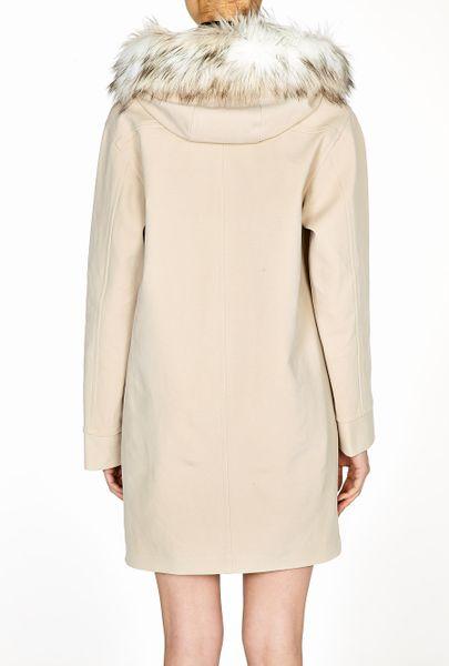 Dkny Parka Coat With Faux Fur Trim Hood In Beige Camel