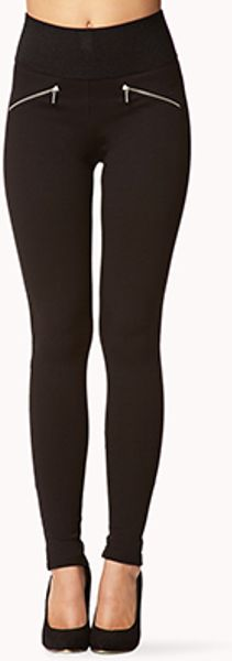 Zippered Knit Leggings Forever 21 11