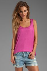 Michael Stars Sandwashed Silk Sleeveless Scoop Neck Hilow Tank in Pink - Lyst