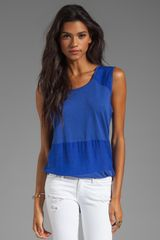 Michael Stars Sandwashed Silk Scoop Neck Muscle Tank in Royal - Lyst