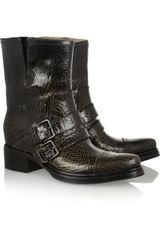 Miu Miu Cracked leather Biker Boots - Lyst
