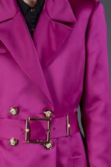 Versace Double Breasted Trench Coat in Purple (pink) - Lyst